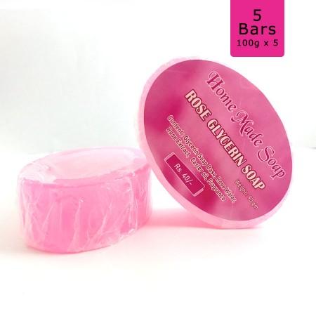Rose Glycerin Soap, 100g (Pack of 5)