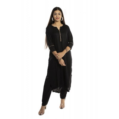 Black Solid Straight Rayon Kurti For Women