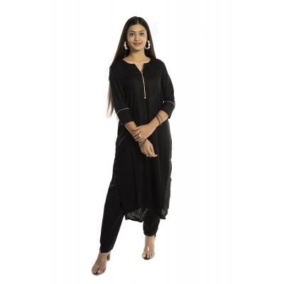 Black Solid Straight Rayon Kurti For Women