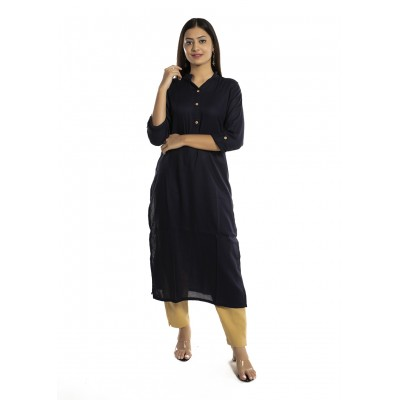Blue Solid Straight Rayon Kurti For Women