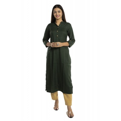 Dark Green Solid Straight Rayon Kurti For Women