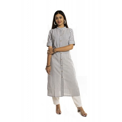 Grey Stripe Straight Cotton Kurti For Women