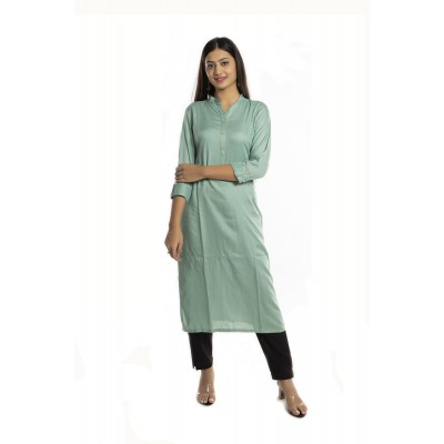 Light Green Solid Straight Rayon Kurti For Women