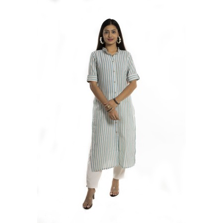 Multi Stripe Straight Cotton Kurti For Women