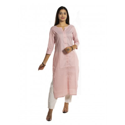 Pink Stripe Straight Cotton Kurti For Women