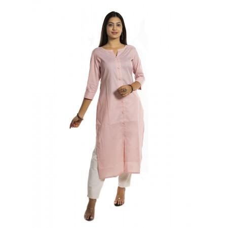 Pink Stripe Straight Cotton Kurti For Women