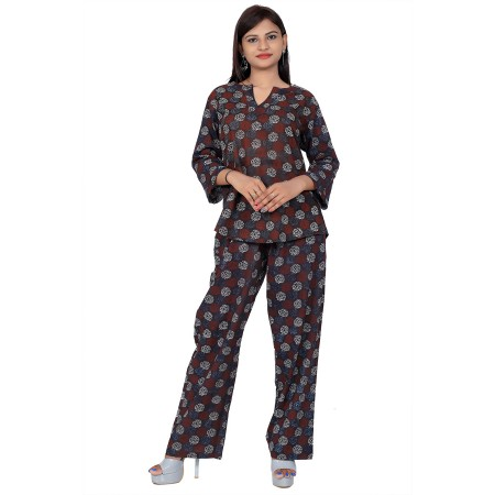 Black Hand Block Print Cotton Kurta Set For Women
