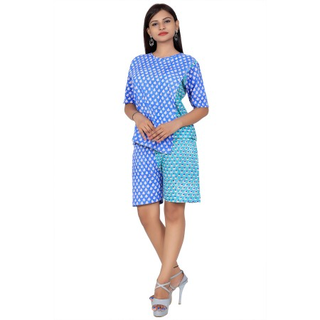 Blue & Green Hand Block Double Print Cotton Kurta With Shorts For Women