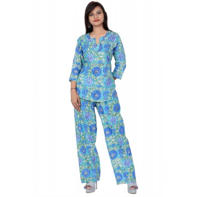Blue Hand Block Print Cotton Kurta Set For Women