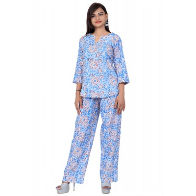 Blue Hand Block Print Cotton Kurta Set For Women