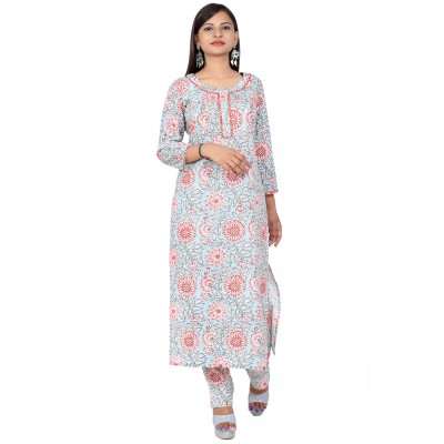 Blue Hand Block Print Straight Cotton Kurti Set For Women