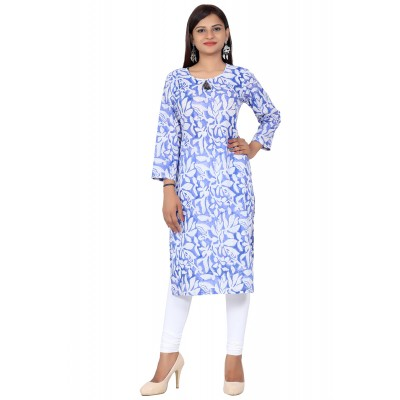Blue Hand Block Printed Straight Cotton Kurti For Women