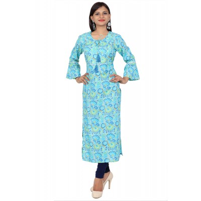 Blue Printed Straight Cotton Kurti For Women