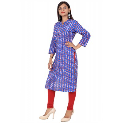 Blue Stand Collar Hand Block Print Straight Cotton Kurti For Women
