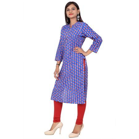 Blue Stand Collar Hand Block Print Straight Cotton Kurti For Women