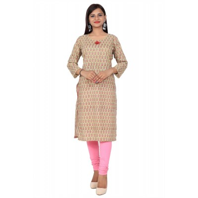 Brown Printed Straight Cotton Kurti For Women