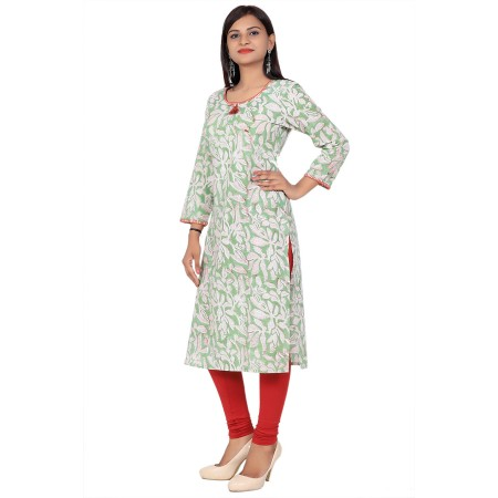 Green Hand Block Print Straight Cotton Kurti For Women