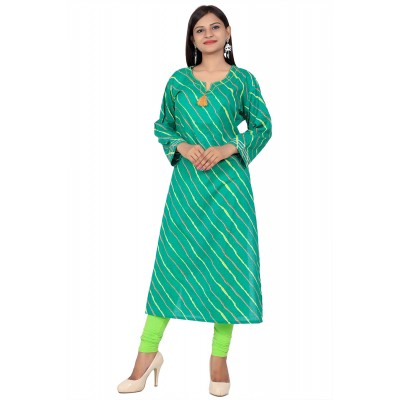 Green Lahriya Print Straight Cotton Kurti For Women