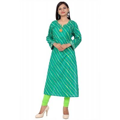 Green Lahriya Print Straight Cotton Kurti For Women