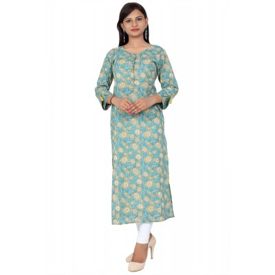 Green Printed Straight Cotton Kurti For Women