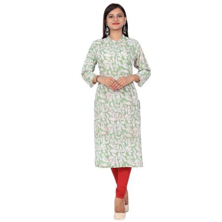 Green Stand Collar Hand Block Print Straight Cotton Kurti For Women