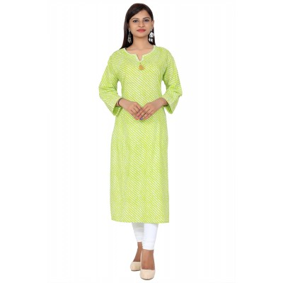 Green Sweetheart Lahriya Print Straight Cotton Kurti For Women