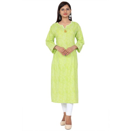 Green Sweetheart Lahriya Print Straight Cotton Kurti For Women