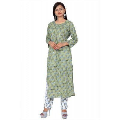 Green & White Hand Block Print Straight Cotton Kurti Set For Women