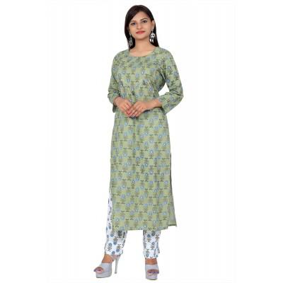 Green & White Hand Block Print Straight Cotton Kurti Set For Women