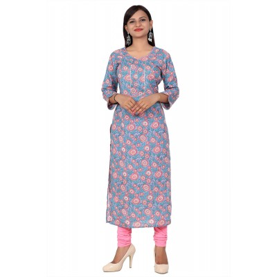 Grey Printed Straight Cotton Kurti For Women