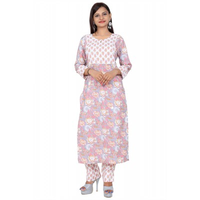 Grey & White Hand Block Print Straight Cotton Kurti Set For Women