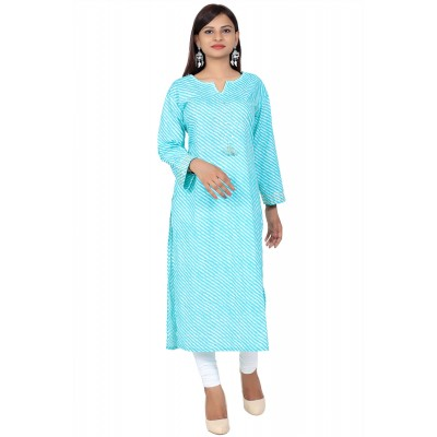 Ice Blue Lahriya Print Straight Cotton Kurti For Women