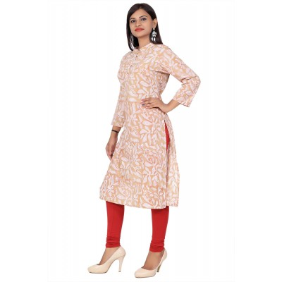 Light Brown Stand Collar Hand Block Print  Straight Cotton Kurti For Women