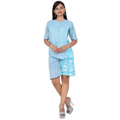 Light Green Hand Block Double Print Cotton Kurta With Shorts For Women
