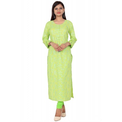 Light Green Lahriya Print Straight Cotton Kurti For Women
