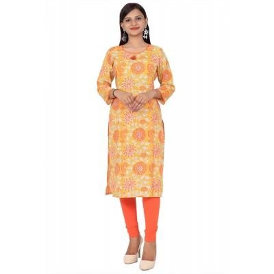 Mustard Printed Straight Cotton Kurti For Women