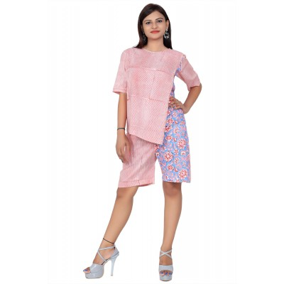 Pink & Blue Hand Block Double Print Cotton Kurta With Shorts For Women