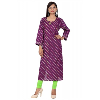 Purple Lahriya Print Straight Cotton Kurti For Women