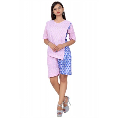 Red & Blue Hand Block Double Print Cotton Kurta With Shorts For Women