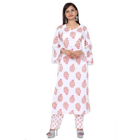 White Hand Block Print Straight Cotton Kurti Set For Women